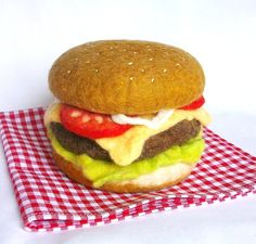 Cheeseburger pincushion by woollyduck on Etsy