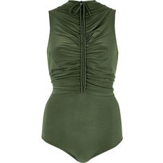 River Island Khaki green ruched bodysuit ($56) ❤ liked on Polyvore featuring tops and river island