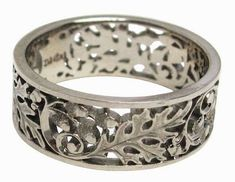 Hand pierced and engraved oak leaf and acorn band in palladium white gold by artist Dmitriy Pavlov, available at Studio Jewelers in Madison, WI Leaf Wedding Band, Jewelery, Jewelry Bracelets, Schmuck Design, Hand Engraving, Handcrafted Jewelry, Bridal Jewelry, Jewelry Design, Jewelry Ideas