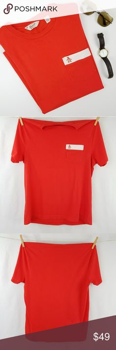 Original Penguin Coral Red Orange Tee Coral red/orange Crew neck  100% cotton  Logo chest pocket Excellent gently used condition!  PLEASE READ CLOSET INFO AND POLICIES POST Original Penguin Shirts Tees - Short Sleeve