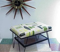 bench with under shelf.  Would be nice for the living room - soft top for feet and shelf for blankets