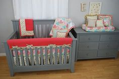 Coral and Aqua floral crib bedding with gold quatrefoil for a bright, girly crib bedding set by Pine Creek Bedding
