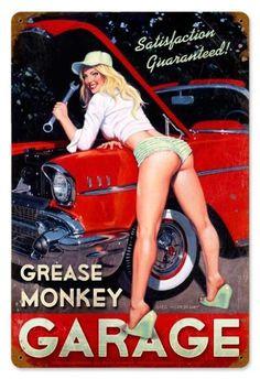 Vintage Grease Monkey Garage - Pin-Up Girl Metal Sign