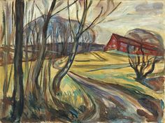 Edvard Munch (1863-1944) - The Red House, 1926, oil on canvas, 68 x 90 cm, Munch Museum, Oslo, Norway source : http://poulwebb.blogspot.fr/
