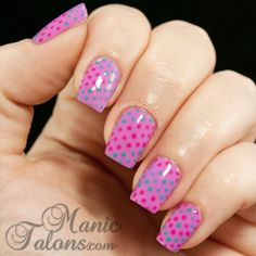 A Whole Lot of Dots with Daisy Bright Maroon, Purple Pride and Gluf Stream. From Manictalons.com