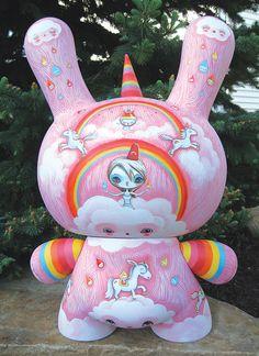 Super Rainbow Dunny Commission Acrylic on Vinyl Kidrobot Mega Dunny