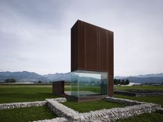 'roman villa' an occupiable sculpture, designed by marte marte architekten, is placed over the ruins of two ancient roman structures in the austria. Beautiful Architecture, Architecture Details, Landscape Architecture, Landscape Structure, Minimal Architecture, Building Architecture, Building Design, Renzo Piano, Norman Foster