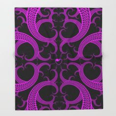 #Purple #Gothic Fractal Heart Pattern Throw #Blanket by Hippy Gift Shop - $49.00
