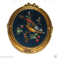 Vtg Colorful Parrot Needlepoint Cross Stitch Oval Framed Blue Bird Wall Hanging