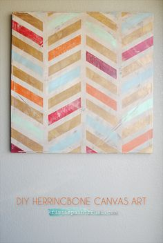 Cool idea to use this on a long narrow canvas with fun colors to decorate a small wall space