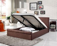 Caramel Dark Brown Fabric Ottoman Sliegh Bed   Storage Beds (by Bedz4u.co.uk) Bed Frame, Ottoman, Fabric Ottoman, Bedstead, Bed, Furniture, Bed Storage, Storage Ottoman, Upholstered Beds