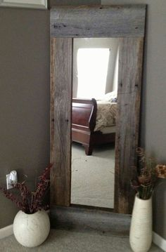 Barn wood and cheap mirror from Wal-Mart