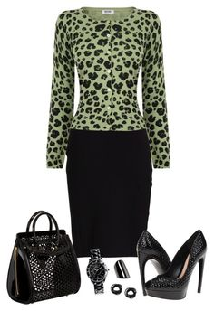 """""""Green Leopard"""" by kajones722 ❤ liked on Polyvore featuring Stine Goya, Moschino Cheap & Chic, Alexander McQueen, Oasis and MANGO"""