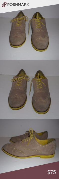 deae0e84e03f5 Cole Haan Womens Flats size Cole Haan Womens Shoes Wingtip flats menswear  inspired tan suede yellow soles womens flats Good pre-owned condition so  cute!