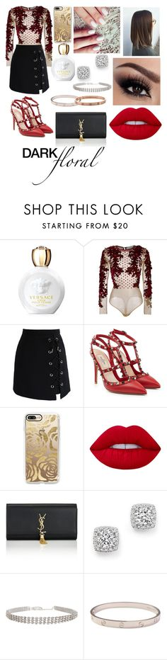 In Bloom: Dark Florals by emily5302 on Polyvore featuring Amen, Chicwish, Valentino, Yves Saint Laurent, Bloomingdale's, Humble Chic, Cartier, Casetify, Lime Crime and Versace