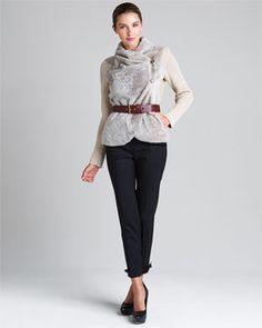 Love Moschino Beige Leather & Fur Jacket