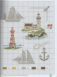Lighthouses and ships, cross stitch, part 1