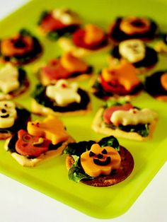 Use cookie cutters on meat and cheese. Add that w/ lettuce on top of crackers.