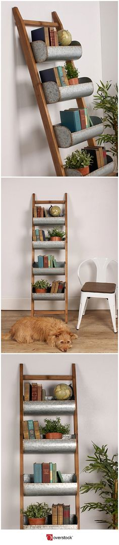Organize your living space in rustic farmhouse design with this ladder organizer. With 4 removable spacious storage bins, this wood ladder is perfect for an entryway to store your keys, mail, pet leashes, and winter hats and mittens. It can also be used as a blanket ladder to hang your extra throw blankets. This solid rustic wood farmhouse ladder can also be used as a bookshelf or to display your indoor garden potted plants.
