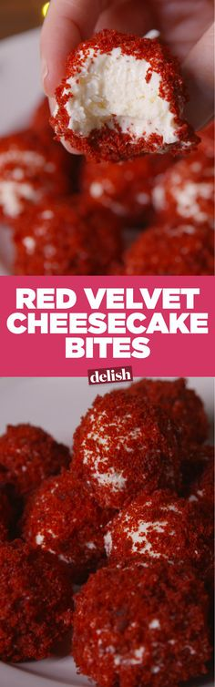 Cheesecake Bites These Red Velvet Cheesecake Bites are like little balls of heaven, and they're so easy to make. Get the recipe on .These Red Velvet Cheesecake Bites are like little balls of heaven, and they're so easy to make. Get the recipe on . Desserts Nutella, Delicious Desserts, Yummy Food, Tasty, Chocolate Desserts, Cheesecake Bites, Cheesecake Recipes, Dessert Recipes, Party Desserts