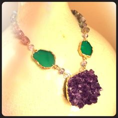 Gorgeous amethyst and labradorite necklace Stunning authentic amethyst necklace on a labradorite chain! Jewelry Necklaces