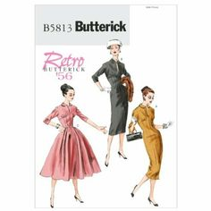 Butterick Schnittmuster 5813 A5 Retro Damen Kleid, Dress, Habiller in 3 Varianten Gr. 6 - 14 (32-40): Amazon.de: Küche & Haushalt