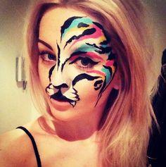 Rainbow tiger face paint Zoo Project Ibiza #bodypaint #art #hen #ideas #party Instagram.com/hd_bodypaint