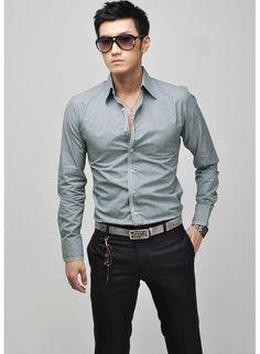 Men's Fashion Stylish Casual shirts Slim Fit Long Sleeve Shirt Tops
