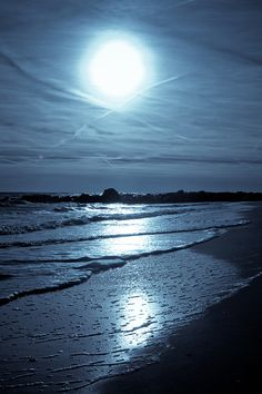 A moonlit ocean, digitally retouched by our studio