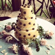 A pretty cake with HoneyBee theme, from The Village Tearoom, Restaurant and Bake...
