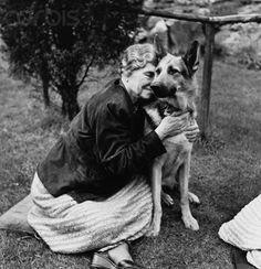 Helen Keller and her guide dog. German shepherd. So sweet and tender.
