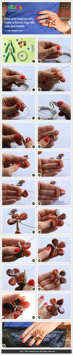 wire and bead jewelry - make a flower ring with wire and beads