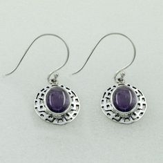 AMETHYST STONE DESIGNER LOOK 925 STERLING SILVER EARRINGS #SilvexImagesIndiaPvtLtd #DropDangle