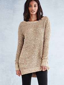 Hoodies & Long Tunic Tops for Women - Victoria's Secret - Cozy Sweaters Boatneck Cocoon Tunic in a solid color