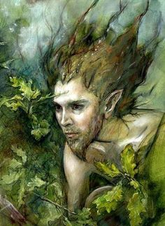 The sacred masculinity of spring! I love how focused this green man-like figure looks! He's definitely determined to draw out the fertility of the forest! Orion print by Stonemaiden Art. Fantasy Creatures, Mythical Creatures, Knight Of Wands, Dragons, Kobold, Nature Spirits, Gnome, Green Man, Gods And Goddesses