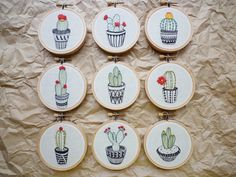 Embroidered Cactus 'Cactus 9' by Cheese by CheeseBeforeBedtime