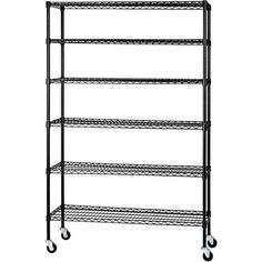 "Six Level Mobile Wire Shelving Rack 48""W x 18""D x 74""H With Leveling Feet Black  #SanduskyLee"