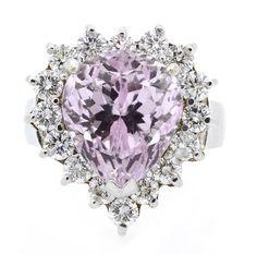 Ring (16) Round Brilliant Diamonds 1.46ct.tw Center Kunzite 9.46ct 18K