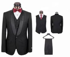 2014 New Arrival Shawl lapel Black slim fitted Men's Formal wear suit/Groom wedding suit for men include( jacket +pants+bowtie) $259.00