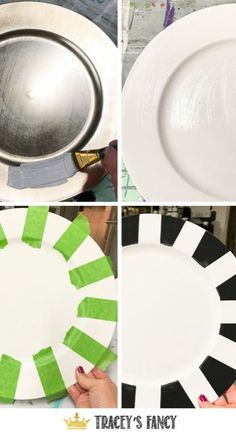 These are fun striped painted plate chargers to go with a fancy holiday or non-holiday tablescape. Tracey loves to paint black and white patterns. Charger Plate Crafts, Charger Plates, Plate Chargers, Gold Chargers, Decor Crafts, Diy Home Decor, Painted Plates, Dixie Belle Paint, Do It Yourself Home