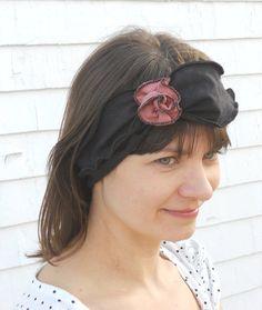 Vintage Style Headband - Organic Cotton and Hemp Jersey - Flapper Headband -  Black - Organic Madeline -