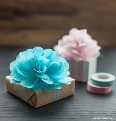 DIY Mini Tissue Poms and Flower Gift Toppers - picture tutorial