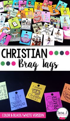 Brag tags are a great classroom management technique that focuses on positive reinforcement. This Christian brag tag set is perfect for a Christian classroom, VBS, Sunday School or even homeschool. Comes in color and in black and white!