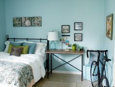 Bedding, lamp and wall art all found from HomeGoods. #bedrooms #decor #pillows
