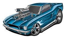 Ford Mustang Ed Roth Art, Cool Car Drawings, Truck Art, Garage Art, Best Muscle Cars, Automotive Art, Vintage Trucks, Car Humor, Cool Cartoons