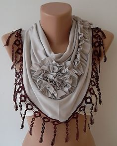 Beige Rose Shawl/ Scarf  Headband Cowl with by TrendyTextile,