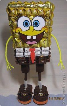 Мастер-класс, Свит-дизайн: Губка Боб МК Бумага гофрированная День рождения, Новый год. Фото 1