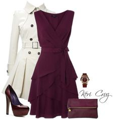 For a girls night out or a work party. Love the deep plum color and the subtle ruffles on the dress.