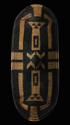 Africa | Shield from the Azande people of DR Congo | Basketry, wood and black pigments