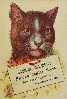 Arthur Ahlborn's French Dollar Store Big Adorable Cat With Sign F89   $17.50